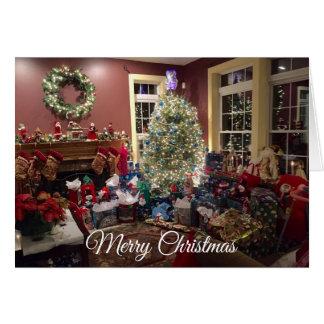 豪華なクリスマスツリーおよび装飾カード カード