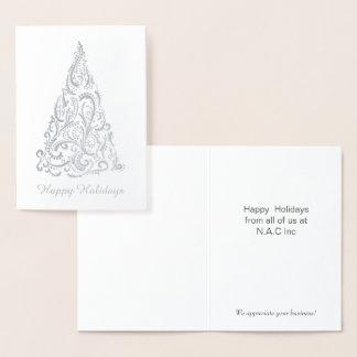 豪華なクリスマスツリーの企業のな休日の挨拶 箔カード