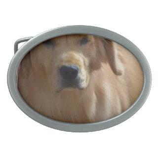 豪華なゴールデン・リトリーバー 卵形バックル