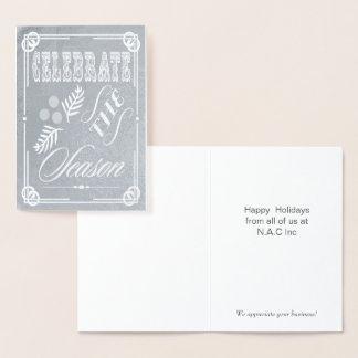 豪華なタイポグラフィの企業のな休日の挨拶 箔カード