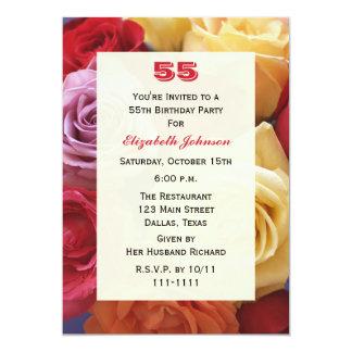 豪華なバラの第55誕生日のパーティの招待状 カード