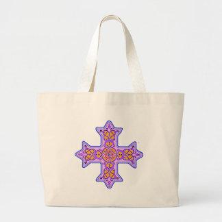 豪華なパステル調のコプトの十字 ラージトートバッグ