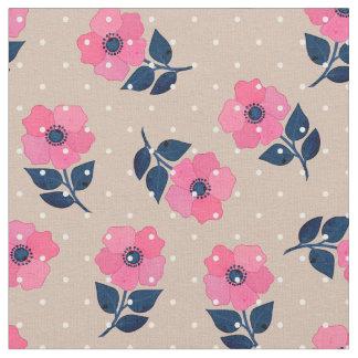 豪華なピンクによっては水玉模様パターンが開花します ファブリック