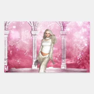 豪華なピンクの望楼の小妖精や小人 長方形シール
