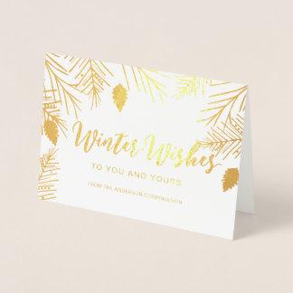 豪華な冬は企業のな休日の挨拶を望みます 箔カード