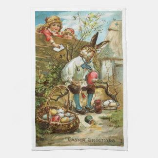 豪華な台所タオルのイースターのウサギの絵画の卵 キッチンタオル