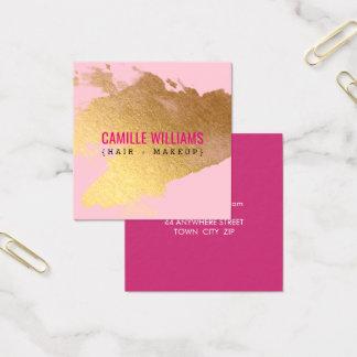 豪華な最小主義の魅力的で模造のな金ゴールドホイルのしぶきのピンク スクエア名刺