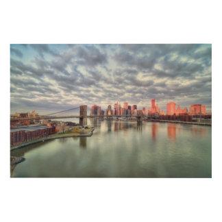 豪華な朝眺めおよび都市反射 ウッドウォールアート