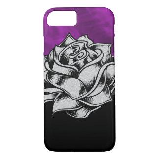 豪華な紫色のバラのグランジなギフト iPhone 8/7ケース