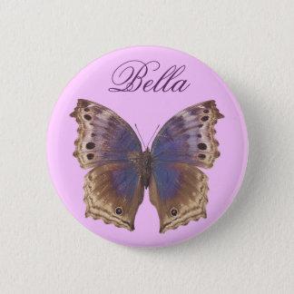 豪華な紫色の蝶 5.7CM 丸型バッジ
