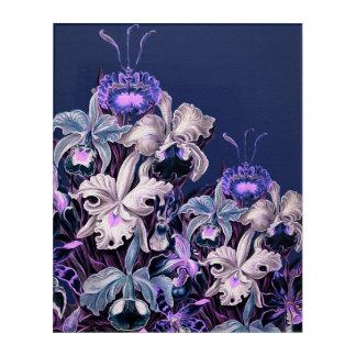 豪華な紫色の青いヴィンテージの花 アクリルウォールアート