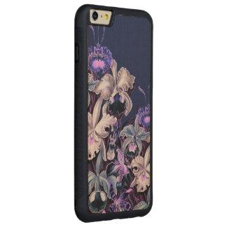 豪華な紫色の青いヴィンテージの花 CarvedメープルiPhone 6 PLUSバンパーケース
