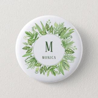豪華な葉|の緑の植物のフレームおよびモノグラム 5.7CM 丸型バッジ