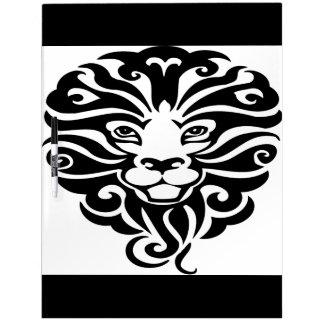 豪華な野生のライオンのマスコット ホワイトボード