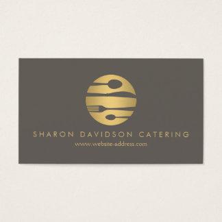 豪華な金ゴールドおよび暗灰色のケータリング、レストラン、シェフ 名刺