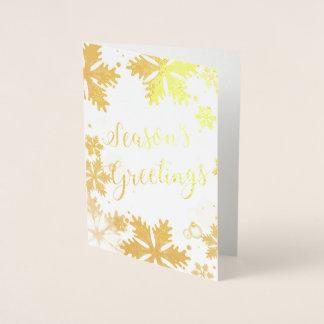 豪華な雪片の企業のな休日の挨拶 箔カード