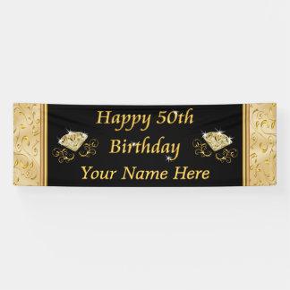 豪華な黒および金ゴールドの第50誕生日の旗 横断幕