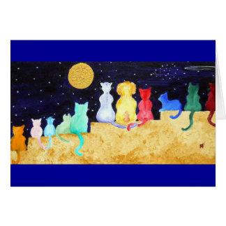豪華-夜を熟視している猫および1匹の犬 カード