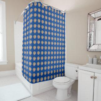 貝が付いている青い海のシャワー・カーテン シャワーカーテン