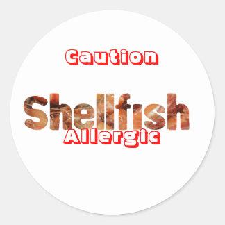 貝のアレルギーのステッカー ラウンドシール