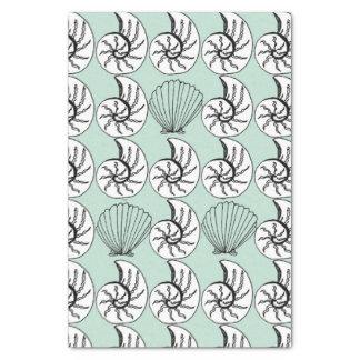貝のオウムガイの帆立貝の航海のなビーチのティッシュペーパー 薄葉紙