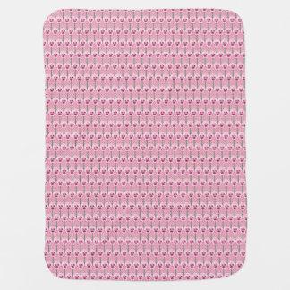 貝のピンクのパンジー-レトロの壁紙パターン ベビー ブランケット