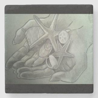 貝の大理石のコースターの十分の手 ストーンコースター