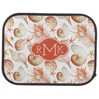 貝及びカニパターン|モノグラムが付いている珊瑚 カーマット