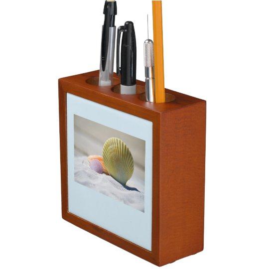 貝殻および日没の机のオルガナイザー