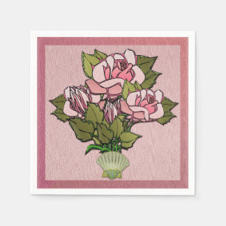 貝殻のつぼのピンクのバラ スタンダードカクテルナプキン