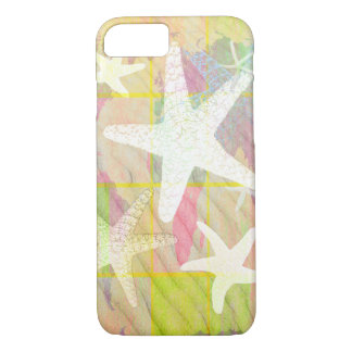 貝殻のオウムガイのピンクのヒトデの背景 iPhone 8/7ケース