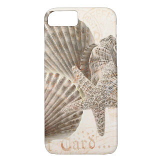 貝殻のオウムガイのヴィンテージのヒトデの背景 iPhone 8/7ケース