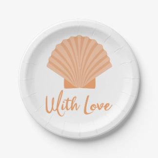 貝殻のオレンジ航海のなビーチ結婚式のパーティー ペーパープレート