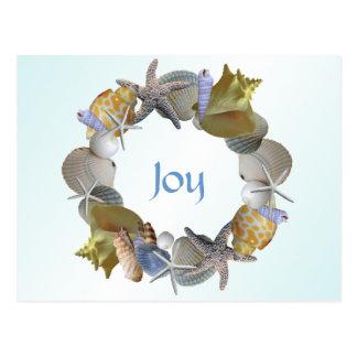 貝殻のカスタムな挨拶状のクリスマスのリース ポストカード