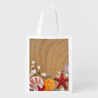 貝殻のヒトデの砂浜 エコバッグ