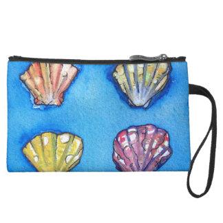 貝殻のビーチのバッグの人魚の財布 スエードクラッチ