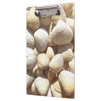 貝殻の夏のビーチの明るいアクリルのクリップボード