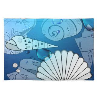 貝殻の水の海の夏のランチョンマット ランチョンマット