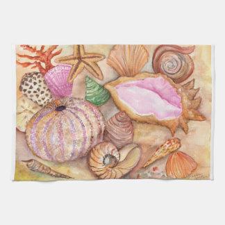 貝殻の水彩画の絵画タオル キッチンタオル
