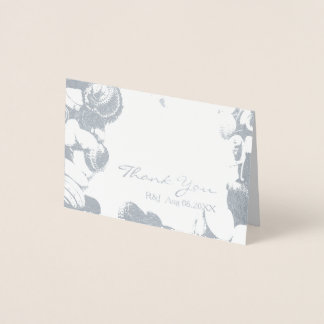 貝殻の熱帯行先の結婚式は感謝していしています 箔カード