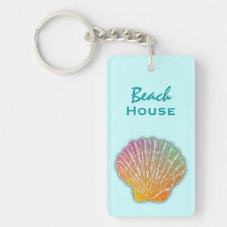貝殻の芸術の青いビーチハウスの鍵 長方形(片面)アクリル製キーホルダー