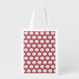 貝殻! ピンク及びティール(緑がかった色)の食料雑貨、ギフト、好意のバッグ エコバッグ