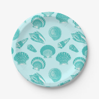 貝殻-柔らかい水および白 ペーパープレート