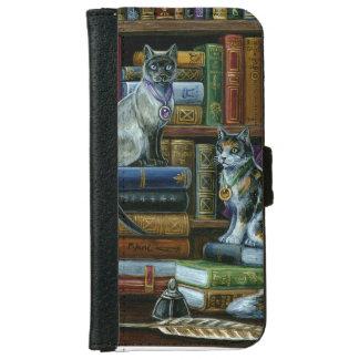 財布と高等教育の図書館猫のiPhone 6s iPhone 6/6s ウォレットケース