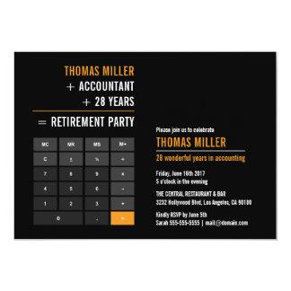 財政の計算機の退職パーティー 12.7 X 17.8 インビテーションカード