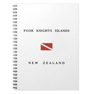 貧乏人の騎士島のニュージーランドのスキューバ飛び込みの旗 ノートブック