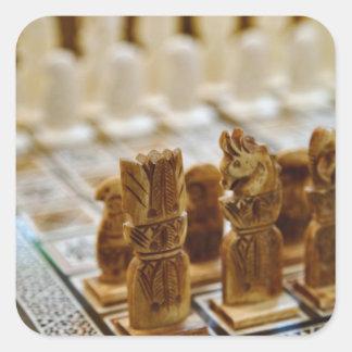 販売のためのチェスのこまセット、Khan el Khaliliのバザー、 スクエアシール