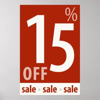 販売の印-小売り小売販売ポスターを離れて強力な15% ポスター