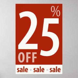 販売の印-小売り小売販売ポスターを離れて強力な25% ポスター