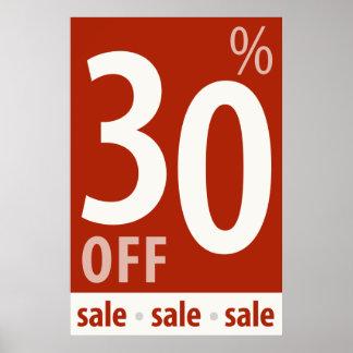 販売の印-小売り小売販売ポスターを離れて強力な30% ポスター